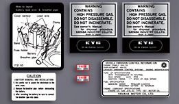 1979 Yamaha XT500 Warning and Service Decal Set