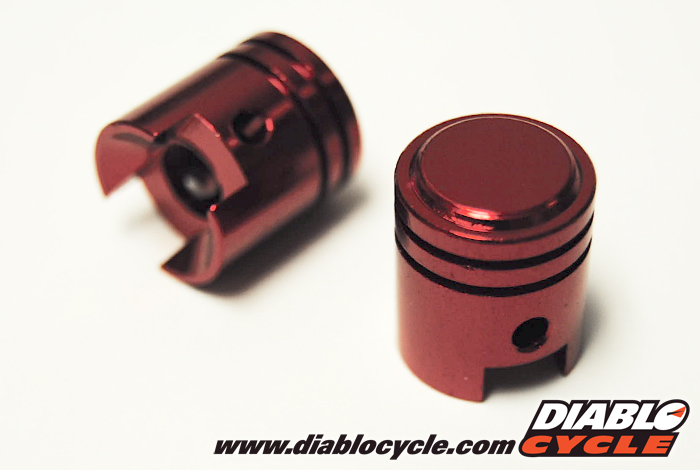 Tire Valve Stem Caps - Red Anodized Aluminum Pistons