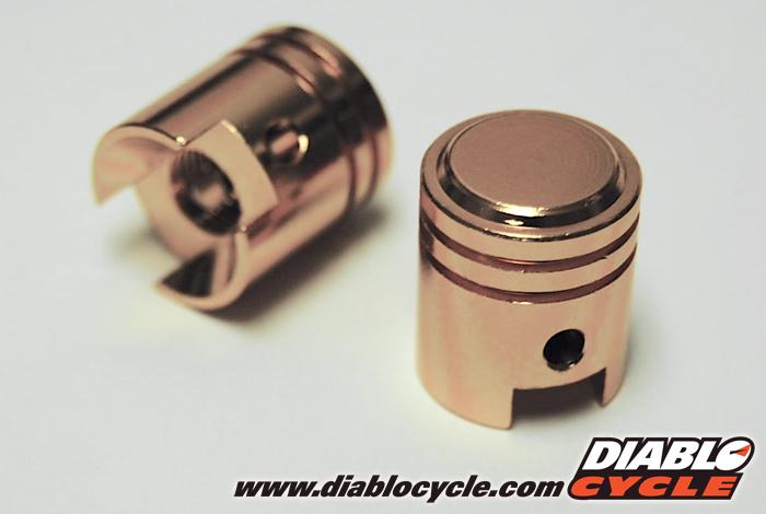 Tire Valve Stem Caps - Gold Anodized Aluminum Pistons