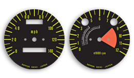 S1 & S2 1972 Gauge Faces Decals - MPH