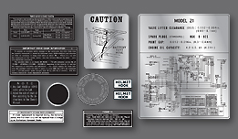 Z1 1972-1973 Early - Warning & Service Label Set