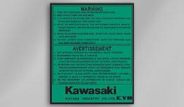 KYB - Kawasaki Warning Decal for 1980's KX