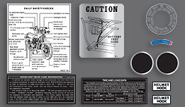 Kawasaki 1974 H2B 10 Piece Warning and Service Label Decal Set