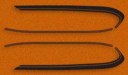 GT750 1975- Gas Tank Stripes- Black