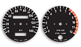 H2C 1975 Gauge Face Decals - MPH