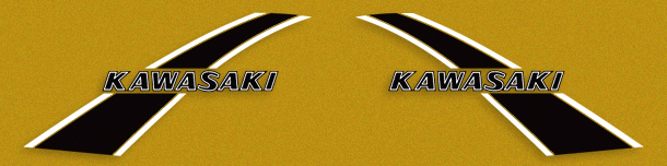 KS125A 1975- Gas Tank Decal Set- Candy Lime & Candy Yellow